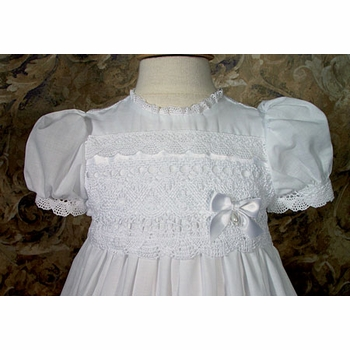 cotton christening gown with cluny trim