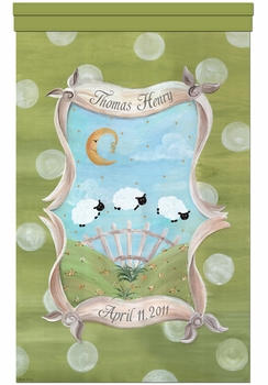 count the sheep meadow green personalized wall hanging