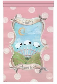 count the sheep prairie pink personalized wall hanging