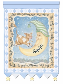 cow and moon hey diddle blue personalized wall hanging