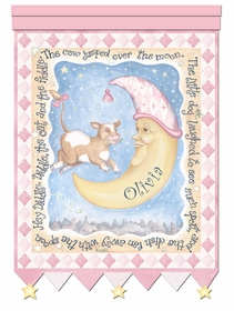 cow and moon hey diddle pink personalized wall hanging