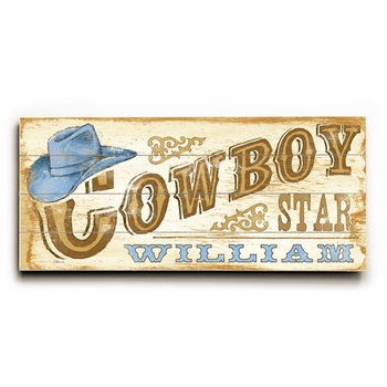 cowboy star blue vintage sign