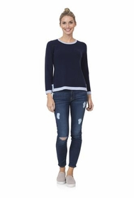 cozy for cashmere navy & pale blue sweater
