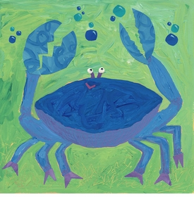 crab with bubbles wall art