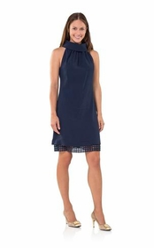 crazy for cowl neck button up back dress - navy