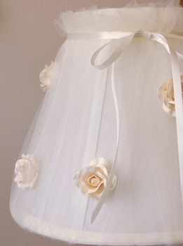 Cream Tulle Lamp Shade with Roses