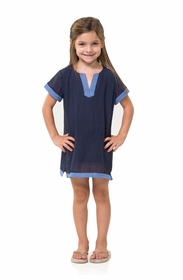 crinkle cotton kids navy tunic with lace