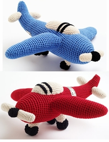 crocheted airplane - lime green