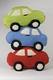 crocheted rattle car - lime green