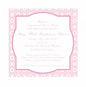 cross my heart pink baptism invitations