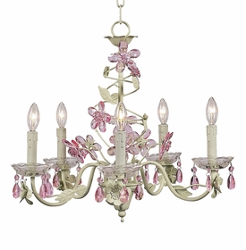 crystal flower chandelier pink & green