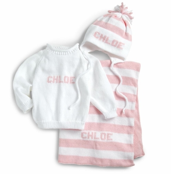 custom baby girl monogrammed knit set (blanket, sweater and hat)