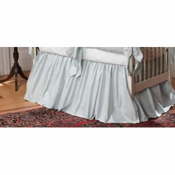 custom ivory silk gathered crib skirt