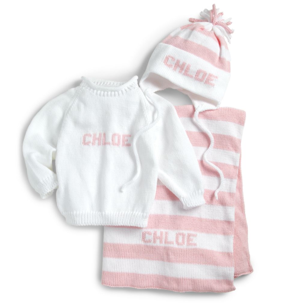 decf37fd4 custom baby girl monogrammed knit set (blanket, sweater and hat)