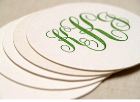 custom letterpress coasters