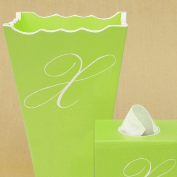 custom painted frame, waste basket, tissue box set - script single initial