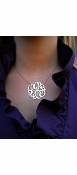 cutout monogram necklace (14K White, Yellow or Rose Gold)