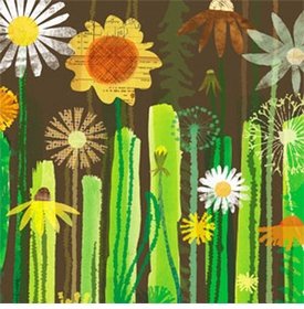 daisy garden wall art canvas reproduction