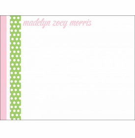 dancing dots pink baby stationery