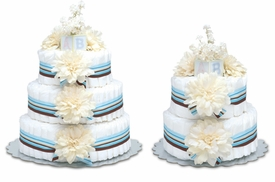 diaper cake - cream dahlias w/blue stripes