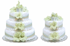diaper cake - mint green gladiolas