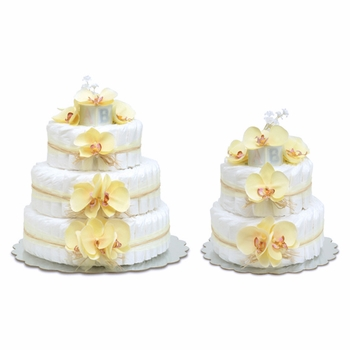 diaper cake - yellow orchids with natural raffia