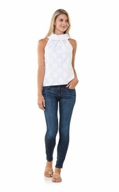 dotted and buttoned up in white sleeveless top