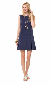 dotted up navy box pleat dress