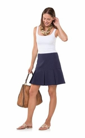 dotted up navy box pleat skirt