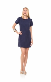 dotted up navy shift dress