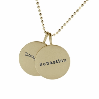 double 14k gold medium name necklace
