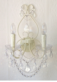 Double light antique White Crystal Wall Sconce