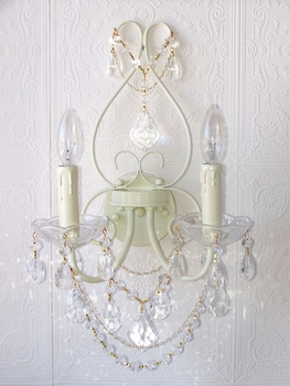 Double light Ivory Crystal Wall Sconce