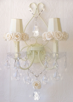 Double light Wall Sconce with Cream rose-shades
