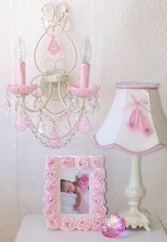 Double light Wall Sconce with Milky Opal Pink Crystals