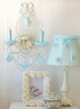 Double light Wall Sconce with Opal Aqua-Blue Crystals