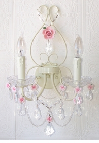 Double light Wall Sconce with Pink Porcelain Roses