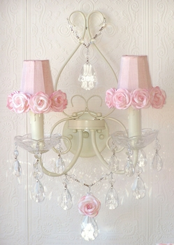 Double light Wall Sconce with Pink rose-shades