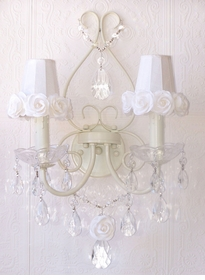 Double light Wall Sconce with White rose-shades
