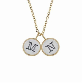double mixed metal initial charm necklace