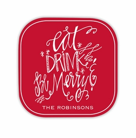 eat drink be merry hardback rounded coaster<br>(set of 4)