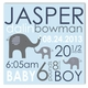 elephant love boy canvas birth announcement