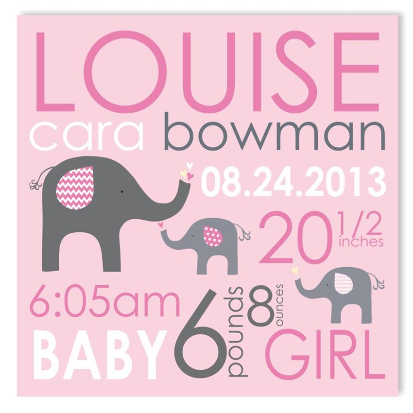 elephant love girl canvas birth announcement featured at
