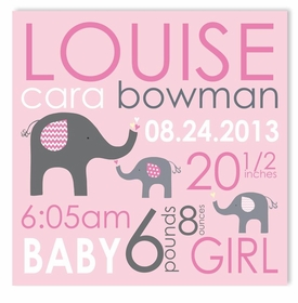 elephant love girl canvas birth announcement