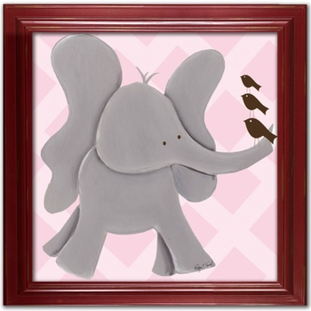 elephant wall art - pink