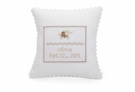 embroidered baby white elephant pillow