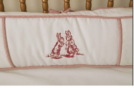 embroidered bunny crib bedding - red by art for kids