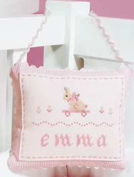 embroidered bunny door pillow