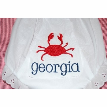 embroidered crab name monogrammed bloomer diaper cover