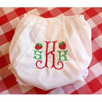 embroidered diaper cover with strawberries
